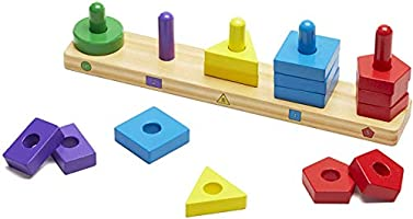Melissa Doug 10379 Tablero para Apilar y Clasificar, Juguete Educativo, Juguete de Madera 15 Piezas de Madera Solidas
