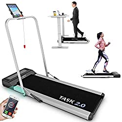 2-in-1 FOLDING TREADMILL & WALKPAD: Versatile & space saving treadmill equipment for your home gym or office. Choose from multiple exercise modes & configurations with speeds of up to 8km/h. BURN CALORIES WHILE YOU WORK: Neatly fits under standing de...