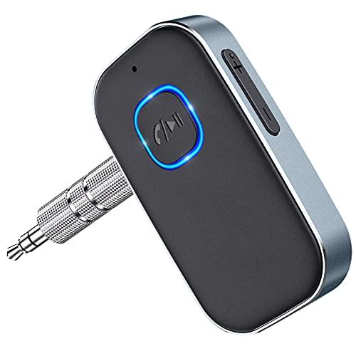 Cocoda Receptor Bluetooth Audio, Adaptador Bluetooth 5.0 Jack con Cable de 3.5mm, Cancelación de Ruido 16Hrs de Uso Enlace Dual Receptor Bluetooth Coche para Llamadas Manos Libres o Hogar Audi