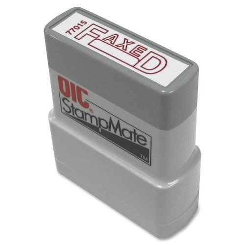 """OfficemateOIC Office Pre-Inked Message Stamp,""""Faxed with Date"""", Red, Refillable (77015)"""