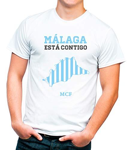 Camiseta con Diseño De Animo Al Málaga CF Talla Adulto. Algodón 100% (Blanco, Talla XXL)