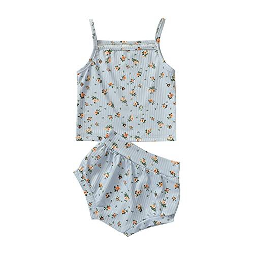 MAI Conjunto de 2 piezas de ropa de verano para niña y niña, sin mangas, con estampado floral