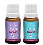 LIV natural Aceites Esenciales para Perro de Lavanda Y Menta. para aromaterapia. Grado terapéutico (Menta y Lavanda)