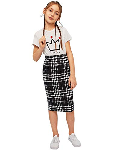 Romwe Girl's Plaid Knee Length Skirts Mid Waist Stretchy Pencil Midi Skirts Black and White 10Y