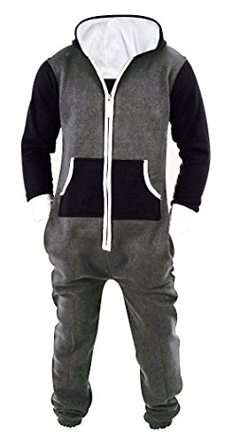 SKYLINEWEARS Men's Unisex Onesie Jumpsuit One Piece Non Footed Pajama Playsuit Char-Black L