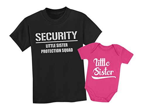 Big Brother & Little Sister Siblings Set - Security For My Little Sister Shirts Toddler Kids T-Shirt Black 3T / Baby Bodysuit Wow pink 6M (3-6M)