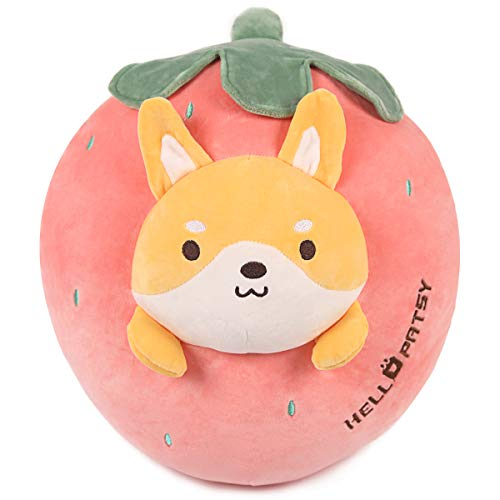 ARELUX 21.7' Soft Shiba Inu Plush Pillow,Cute Stuffed Animal Pillow,Strawberry Plushie Food Hugging Pillow Toy, Gift for Birthday, Valentine, Christmas