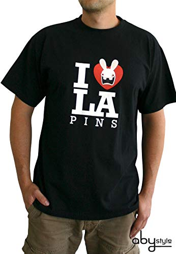 ABYstyle - LAPINS CRETINS - Tshirt - Love Lapin - Homme - Noir - Taille XL