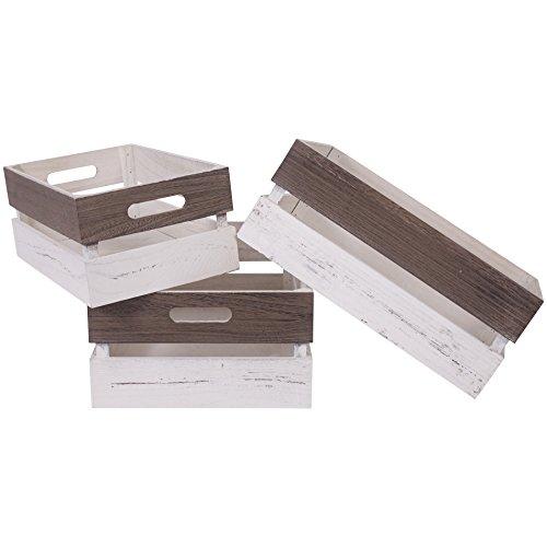 Mobili Rebecca® Set 3 pz Cassette Scatole portaoggetti Marrone Bianco Shabby Giardino Cucina...