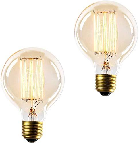 E27 Bulb, Vintage Light Bulbs 60W, Edison Screw Incandescent Bulb, Decorative Filament Bulbs, Dimmable, Warm White Light 2700K, 230V, Pack of 2