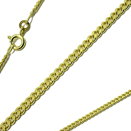 Panzerkette flach 333 8Karat 1,10mm 50cm massiv Echtgold Gelbgold Halskette Collier Gold für Damen Herren und Kinder
