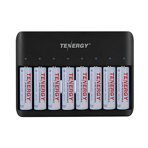 Tenergy TN477U 8-Bay Fast Charger for AA/AAA Ni-MH/NiCD Rechargeable Batteries with Micro USB and USB C Input + 8X AA Rechargeable Batteries