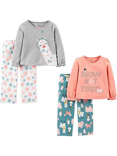 Simple Joys by Carter's 4-Piece Pajama (Poly Top & Fleece Bottom) Pyjama-Set, Tier, 2 Jahre, 4er-Pack