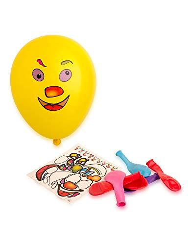 Generique - 10 Ballons Stickers Visage Multicolores 30 cm