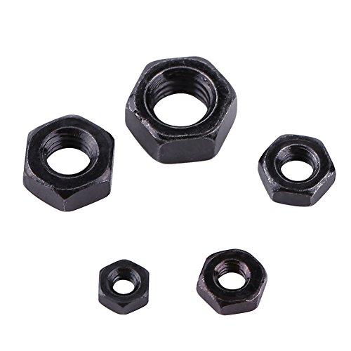 100pcs Din934 Schwarzes Zink überzogen 8.8 Klasse Carbon Stahl Hex Sechskantmuttern M2-M5, Volles Gewinde, Einfaches Ende(M4)