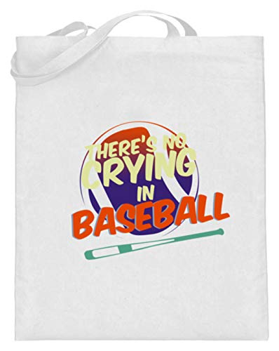 SPIRITSHIRTSHOP There's No Crying In Baseball - Jutebeutel (mit langen Henkeln) -38cm-42cm-Weiß
