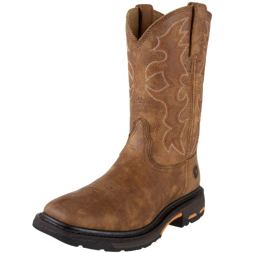 Ariat Men's Workhog Wide Square Toe Work Boot, Rugged Bark, 10 D US