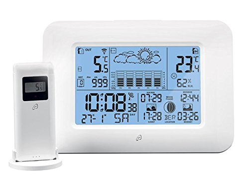 Auriol Funk Wetterstation | inkl. Außensensor | l/Funkuhr | Mondphasen-Anzeige/Innen- und Außentemperatur | LCD-Display (Weiß)