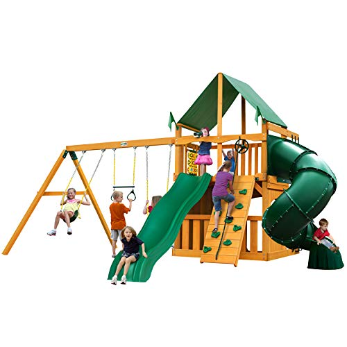 Gorilla Playsets 01-0033-AP-1 Mountaineer Clubhouse Wood Swing Set with Green Vinyl Canopy, Tube Slide, and Rock Wall, Amber