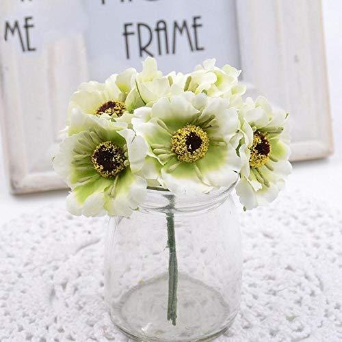 6st 3.5cm mini zijde kers kunstmatige klaproos boeket DIY handgemaakte tattoo krans plakboek bruiloft decoratie ambachtelijke nep bloem, licht groen