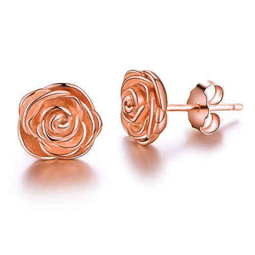 Esberry Gifts for Christmas 18K Gold Plating 925 Sterling Silver Rose Stud Earrings Hypoallergenic Flower Earrings Jewelry for Women and Girls (Rose Gold)