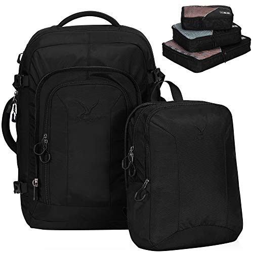 Hynes Eagle 2 in 1 Travel Backpack 48L Carry on Backpack with Removable Daypack,Black with Black 3PCS Packing Cubes