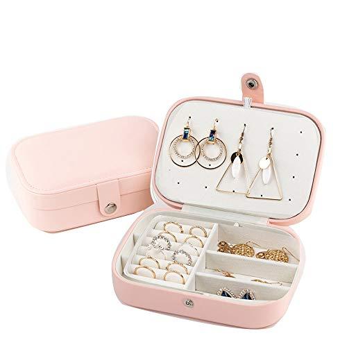 Joyero organizador pequeño de viaje de piel sintética collar anillo almacenamiento doble capa caja de regalo para niñas y mujeres, color rosa