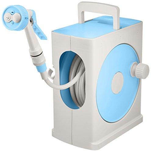 アイリスオーヤマ ホース リール フルカバーホースリールスリム 20M ライトブルー×グレー 水やり 洗車 掃除 コンパクト スリム
