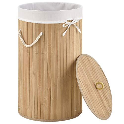 Juskys Bambus Wäschekorb Curly-Round – 55 Liter Volumen – Wäschesammler mit Deckel, Tragegriffen & Stoff Wäschesack – 1 Fach Wäschebox – in Natur