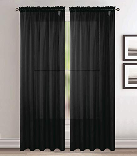 Jody Clarke 2pc Set Sheer Voile Window Treatment Rod Pocket Curtain Panels for Bedroom and Living Room Assorted Colors & Sizes Solid Stitched & Hemmed(Black, 2PC 54 X 84)