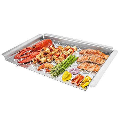 Unicook Grill Topper, Vegetable Grill Basket for Outdoor Grill, Warp-Free Stainless Steel Grill Pan for Grilling Veggie Seafood Meat and Kabob, Heavy Duty BBQ Tray Accessories, Rectangular 16x11 inch