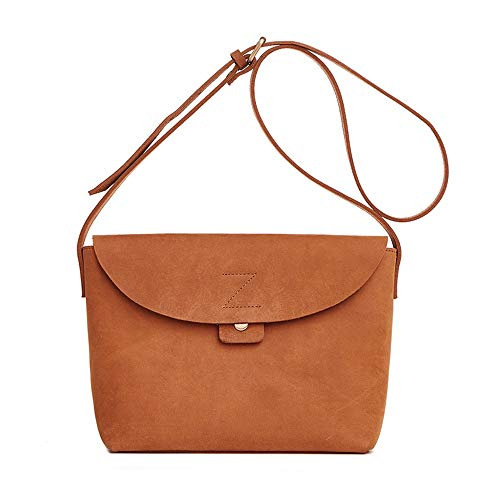 Bolso de Mujer Casual monedero del hombro de cuero for mujer Cross Body Bag Vintage bolsa de mensajero de la taleguilla for la vida diaria Bolsos de Hombro ( Color : Marrón , Size : 22x10x17cm )