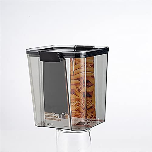 QKFON Contenedor de almacenamiento de cereales, hermético para alimentos, harina de azúcar, caja fresca, apilable, cuadrado transparente, caja de almacenamiento de alimentos para nevera, hogar, cocina