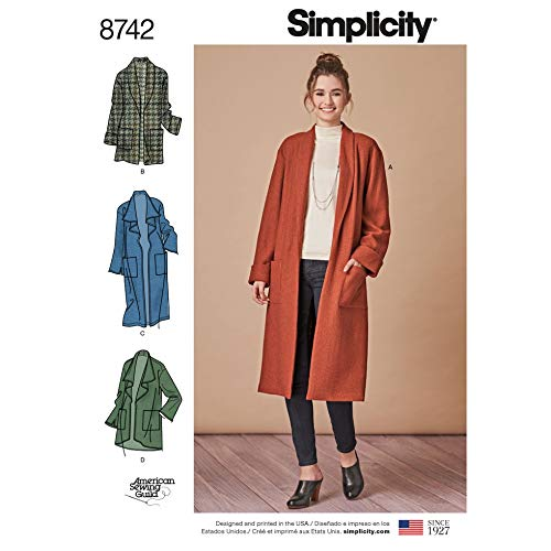 Simplicity Schnittmuster 8742 Strickjacken und Mäntel A (XS-S-M-L-XL)