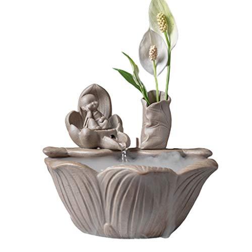 Desktop Fountain Ceramic Zen Water Fountain Fountain Decoration Creative Feng Shui Wheel Lucky Fish Tank Kleine Gift Accessoires voor fonteinfonteinen in de tuin (Color : Grijs)