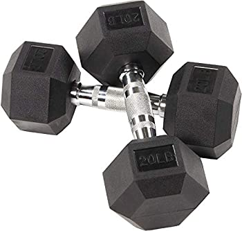 Fuxion Dumbbells 20 Lbs Rubber Encased Hex Pair   Hand Weights   All-Purpose Home Gym Office Exercise Work  40 Total  Set of 2 Each 20 pounds / 9.1 Kg