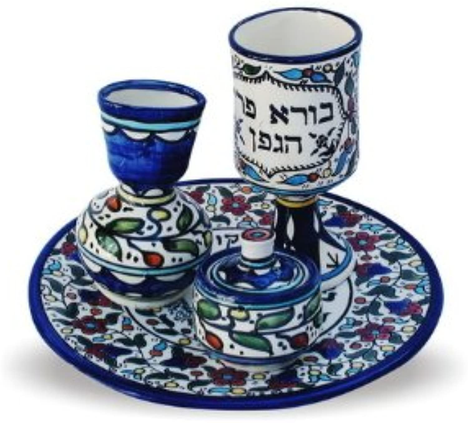 22cm four piece Havdallah set painted in bluee