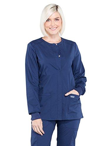 Cherokee Workwear Professionals Snap Front Warm-up Scrub Jacket, S, Navy