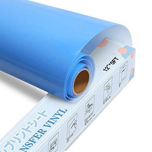 YRYM HT Lámina para plóter textil prémium, 30,5 cm x 152,4 cm, lámina flexible para planchar camisetas y otros tejidos (azul)