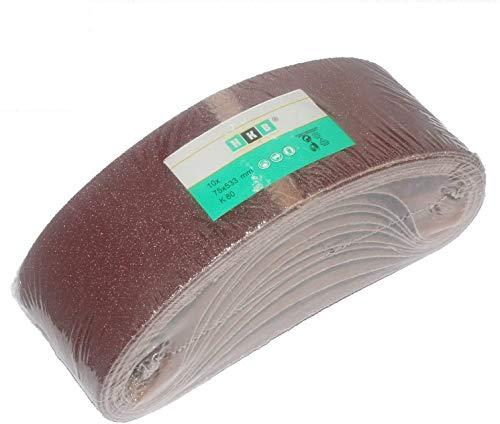 10 Stück HKB ® Schleifbänder, 75x533mm, K80 für Bandschleifmaschinen, Hochwertige Profi-Qualität für verschiedene Oberflächen, feiner und riefenfreier Schliff, Hersteller HKB, Artikel-Nr. 20280