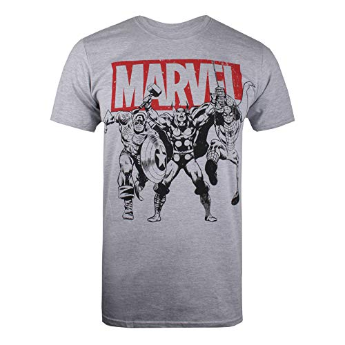 Marvel Marvel Herren Trio Heroes T-Shirt, Grau (Grey Marl SPO), (Herstellergröße: SMALL)