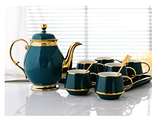 Mok zwarte thee, keramische koffiekop, middagsthee, zwarte thee schaal, eenvoudige koffie kop, schoteltje huishouden set met lepel en geschenkdoos 1 pot 6 kopjes 6 lepels 1 plaat