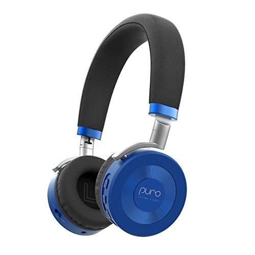 Puro So& Labs   klappbare u. verstellbare Bluetooth-Kinderkopfhörer (ab 3 Jahren) mit Mikrofon u. Lautstärkebegrenzung zum Gehörschutz, für Tablets, Smartphones u. PCs   22 h Akkulaufzeit   Blau