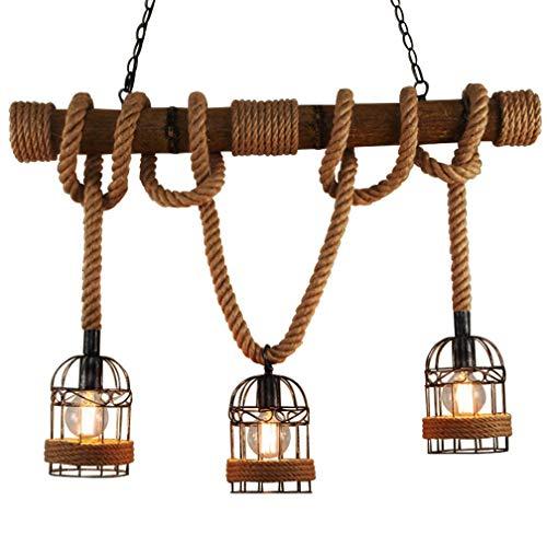 Retro corda della canapa Lampade a sospensione Vintage Industrial Soffitto a Sospensione Lampada Creativo Decorare Lampadari 3 testa E27 220V 40W [Classe di efficienza energetica A++]