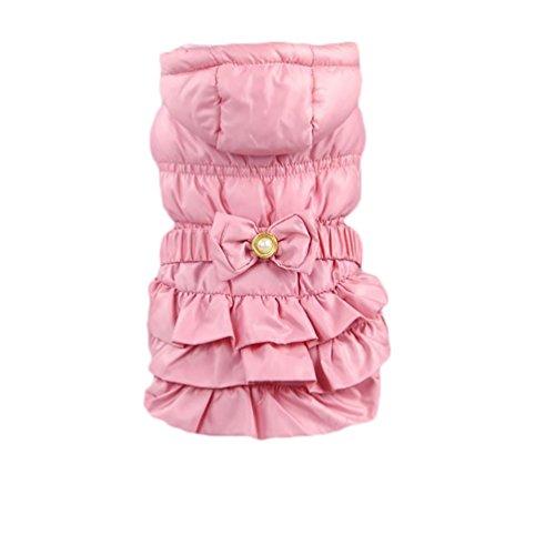 YiJee Warme Hundemantel Hunde Winterjacke mit Krawatte für Kleine Hunden Pink XL