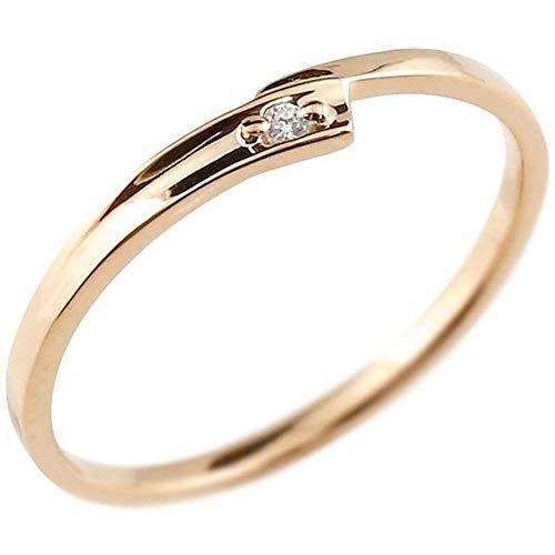 [アトラス]Atrus リング レディース ペアリング 10金 ピンクゴールドk10 ダイヤモンド 一粒 極細 華奢 エンゲージリング 指輪 14号