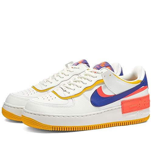 Nike Zapatos Mujer Air Force 1 Shadow CI0919-105, Summit Blanco/Flash Crimson/Azufre Oscuro/Astronomía Azul, 8.5 US