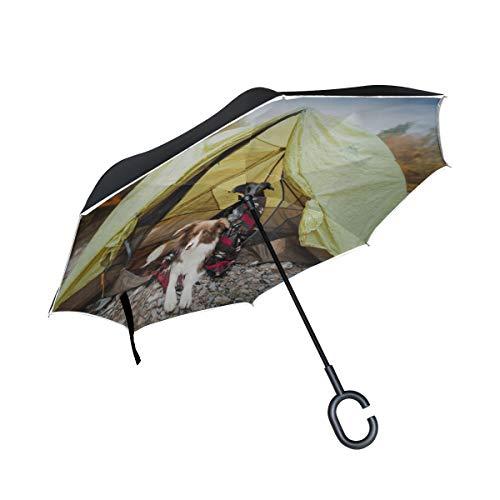 Doppelschicht-umgekehrter kompakter Klappschirm Zwei Hunde in einem Zelt Klappbarer umgekehrter Regenschirm Jungen-Klappschirm Winddichter UV-Schutz für Regen mit C-förmigem Griff