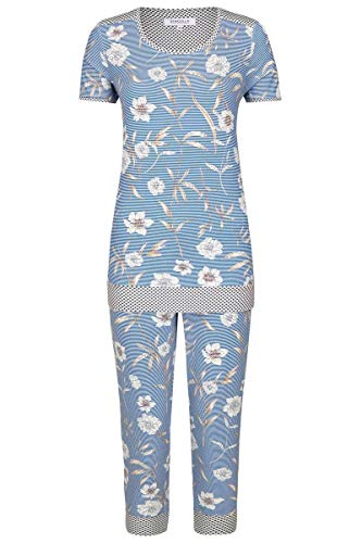 Ringella Damen Pyjama mit Caprihose Blue 42 0211224, Blue, 42