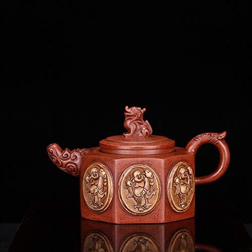 DANJIA aanbieding pot theepot gelukkige hand erts thee helder cement theepot (Color : Purple mud)